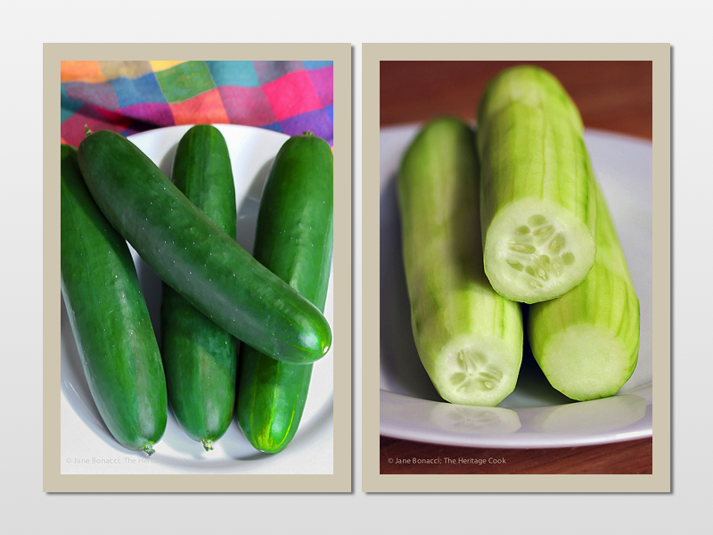 Prepping cucumbers; Chilled Cucumber and Hummus Summer Soup (Gluten-Free); © 2016 Jane Bonacci, The Heritage Cook