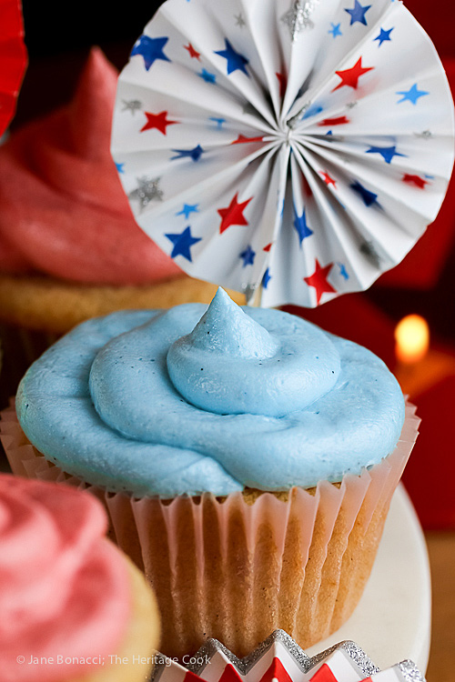 Patriotic Vanilla Cupcakes with White Chocolate Buttercream Frosting; © 2016 Jane Bonacci, The Heritage Cook.