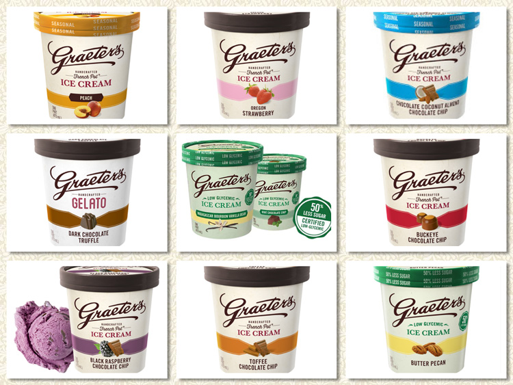 Selection of Graeter's Ice Cream flavors; Graeters Ice Cream Images 2016