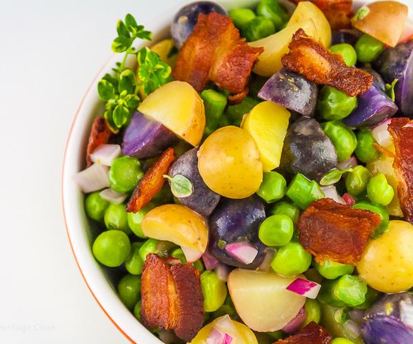 Potato, Veggie, and Bacon Salad with Lemon Vinaigrette; © 2016 Jane Bonacci, The Heritage Cook