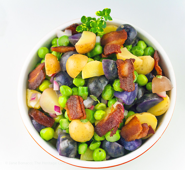 Potato, Spring Vegetable, and Bacon Salad with Lemon Vinaigrette; © 2019 Jane Bonacci, The Heritage Cook