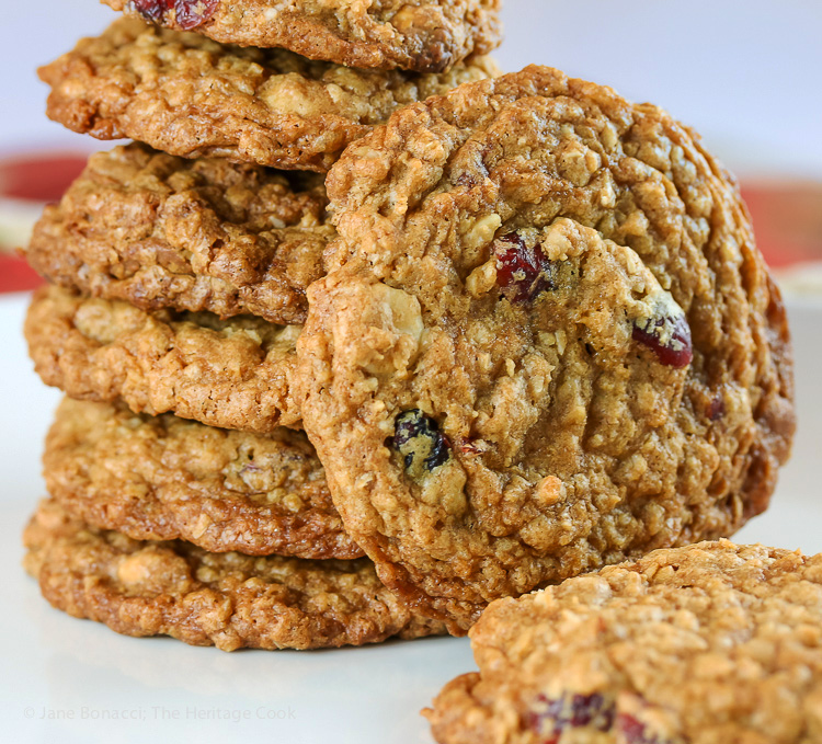 White Chocolate, Cranberry, Oatmeal Cookies, Gluten Free; 2016 Jane Bonacci, The Heritage Cook