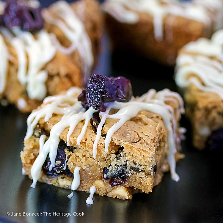Gluten Free White Chocolate and Cherry Blondies; Jane Bonacci, The Heritage Cook
