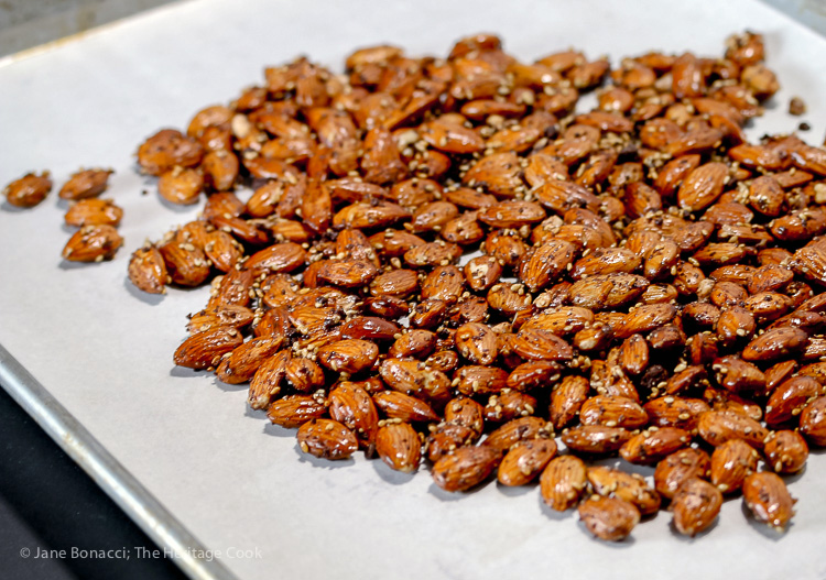 Seasoned almonds on baking sheet ready for roasting; Gluten Free Roasted Almonds with Chocolate Dukkah seasoning; 2016 Jane Bonacci, The Heritage Cook