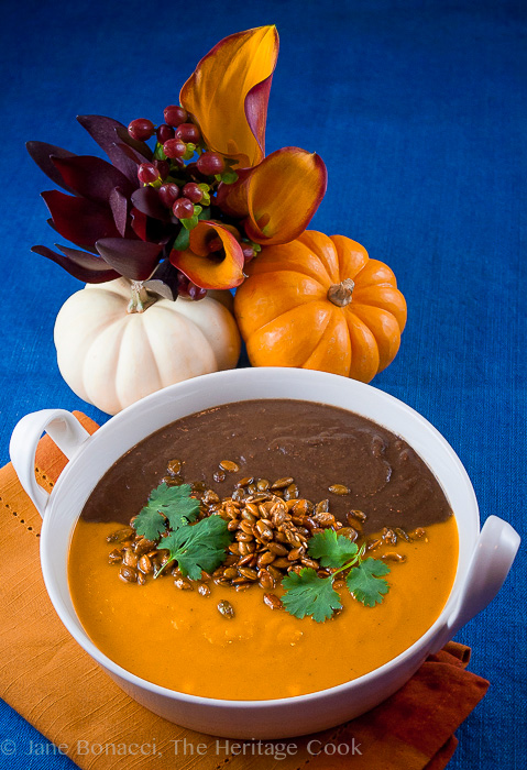 Halloween Black & Orange Soups, Curried Butternut Squash-Carrot Soup & Spicy Black Bean Soup; © 2016 The Heritage Cook. All rights reserved.