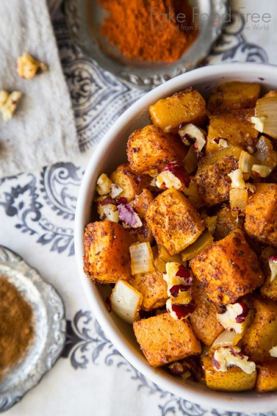 Butternut Squash Roasted with Pears & Red Walnuts from Fake Food Free