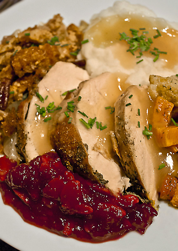 Plate of Thanksgiving favorites; Tips and Recipes for a Fun and Delicious Thanksgiving Part 2; Jane Bonacci, The Heritage Cook