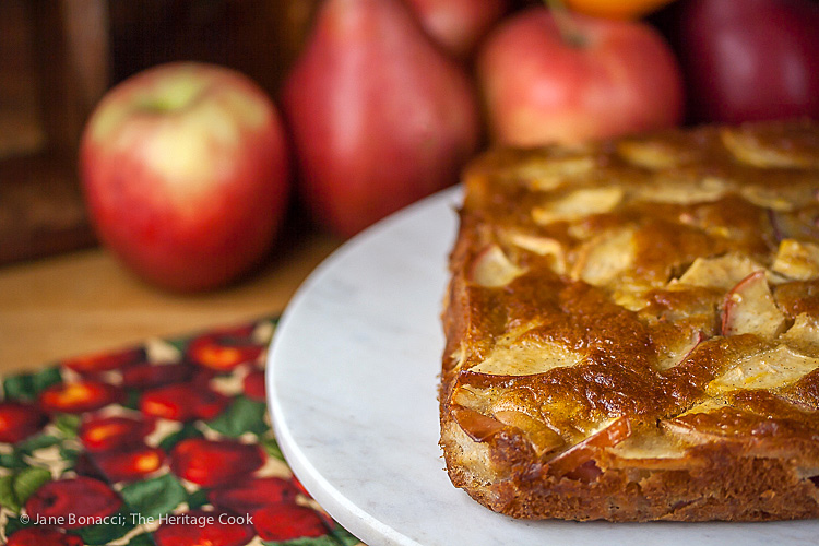Grill Baked Apple and Pear Cake; Sweet Endings Apple Desserts Round Up; ©2016 Jane Bonacci, The Heritage Cook