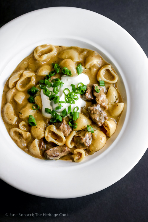 Dive in! Easy Homemade Gluten Free Beef Stroganoff © 2017 Jane Bonacci, The Heritage Cook