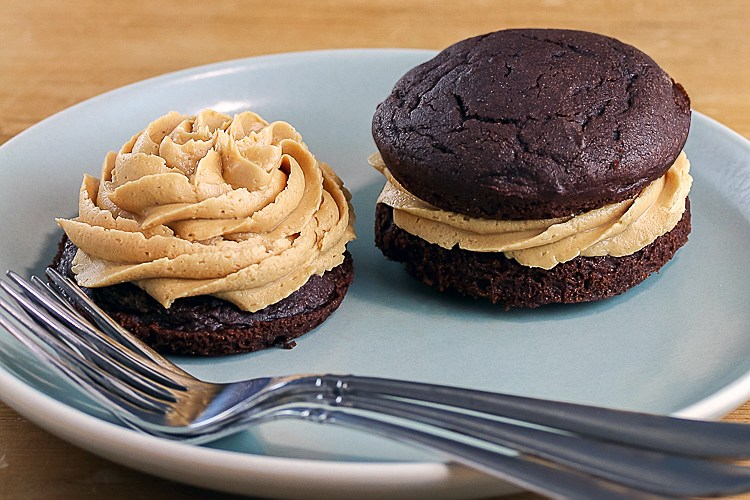 Chocolate Whoopie Pies with Creamy Peanut Butter Filling (Gluten-Free) © 2017 Jane Bonacci, The Heritage Cook