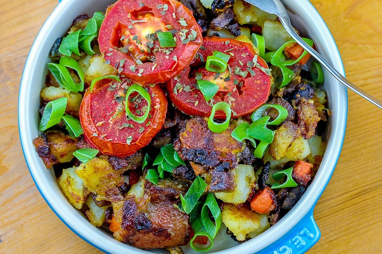 Duck Confit Potato Hash with Roasted Tomatoes Recipe (Gluten-Free)