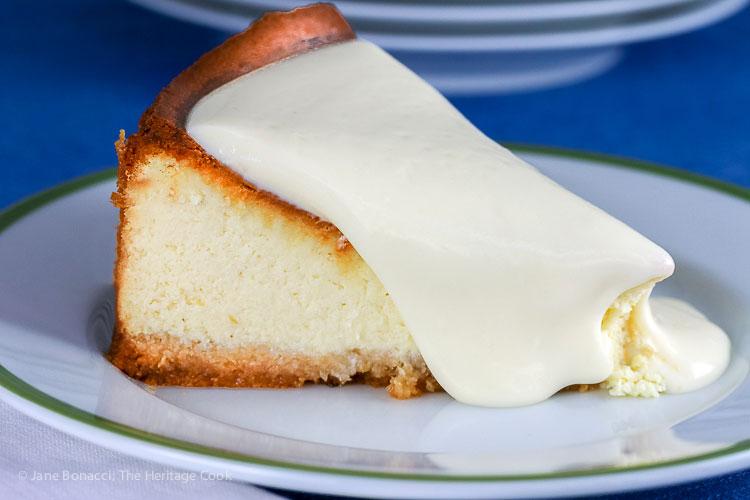 Gluten Free Classic Cheesecake with Almond Crust © 2017 Jane Bonacci, The Heritage Cook