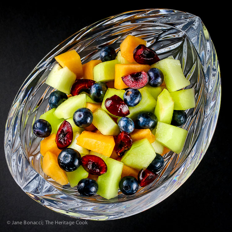 Fresh Fruit Salad with Bourbon Orange Syrup (Gluten-Free) © 2017 Jane Bonacci, The Heritage Cook. All rights reserved.