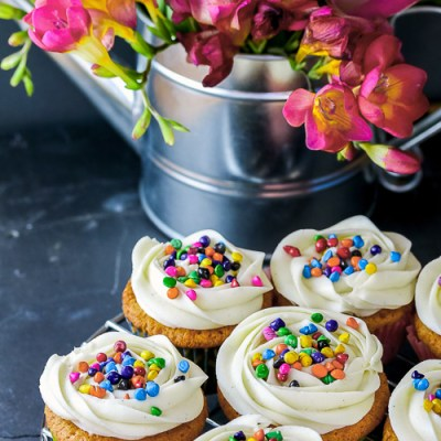 White Chocolate Coconut Cupcakes with Buttercream Frosting for May Day!