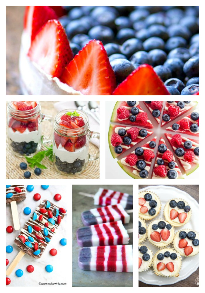 Collage of 6 festive recipes for the 4th of July