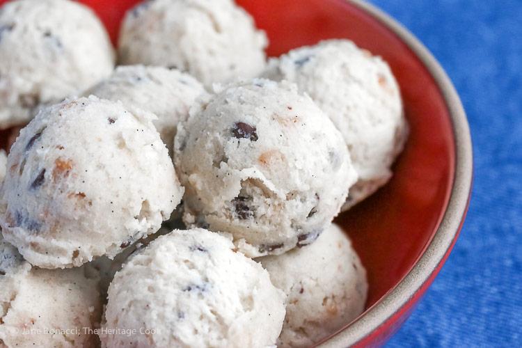 No Bake Chocolate Chip Toffee Cookie Dough Truffles © 2017 Jane Bonacci, The Heritage Cook