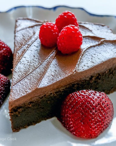 Dark Chocolate Bourbon Cake with Whipped Ganache Frosting (Gluten-Free)