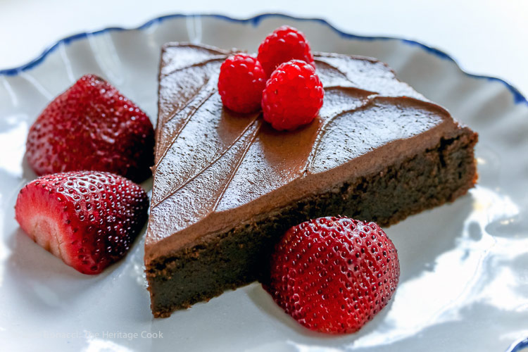 Dark Chocolate Bourbon Cake with Whipped Ganache Frosting (Gluten-Free) © 2017 Jane Bonacci, The Heritage Cook