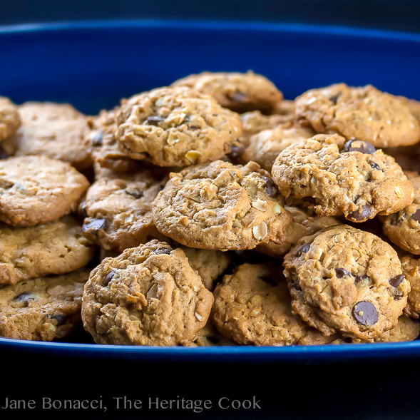 Close up platter stacked with cookies; Oatmeal, Chocolate Chip, Peanut Butter Cookies (Gluten-Free); © 2017 Jane Bonacci, The Heritage Cook