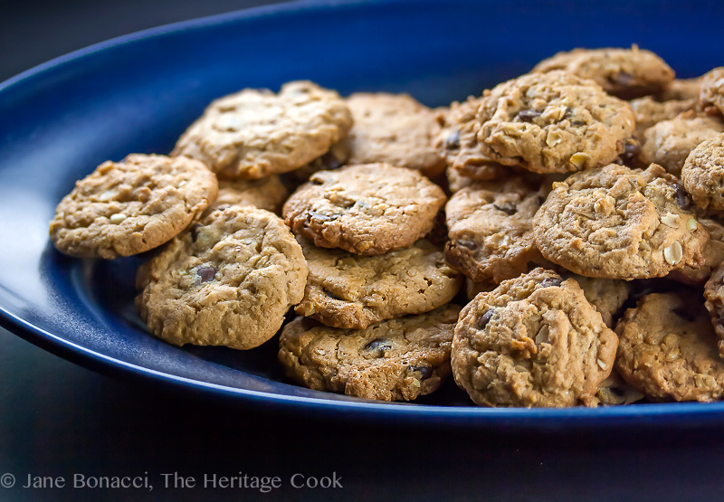 Perfectly baked cookies on a blue platter; Oatmeal, Chocolate Chip, Peanut Butter Cookies (Gluten-Free); © 2017 Jane Bonacci, The Heritage Cook