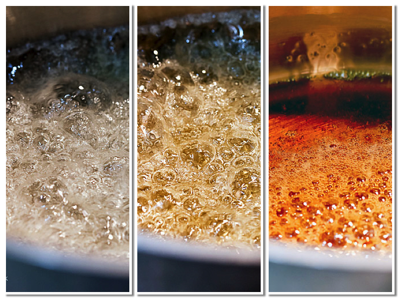 progression of caramelizing sugar, you need a light-colored pan to be able to see the color changes; Chocolate Sheet Cake with Chocolate Caramel Frosting © 2017 Jane Bonacci, The Heritage Cook