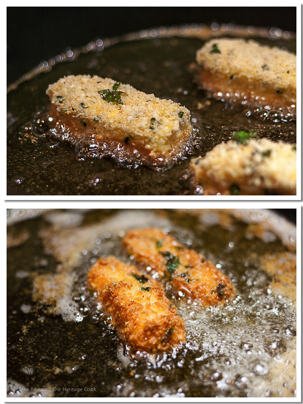 Cheese sticks frying in hot oil; Fried Cheese Tombstones with Blood Red Dipping Sauce © 2017 Jane Bonacci, The Heritage Cook