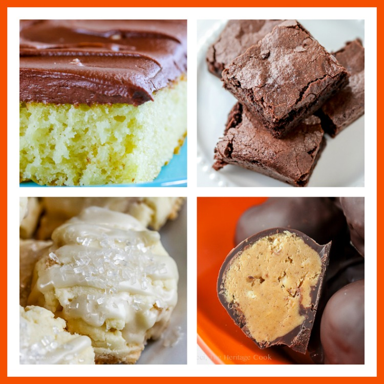 Collage of 4 photos of Chocolate Monday Favorites; Top 21 most popular Chocolate Monday recipes of 2017 © 2017 Jane Bonacci, The Heritage Cook