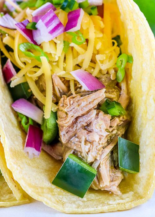 Instant Pot Green Chile Pork Tacos (Gluten Free) © 2018 Jane Bonacci, The Heritage Cook