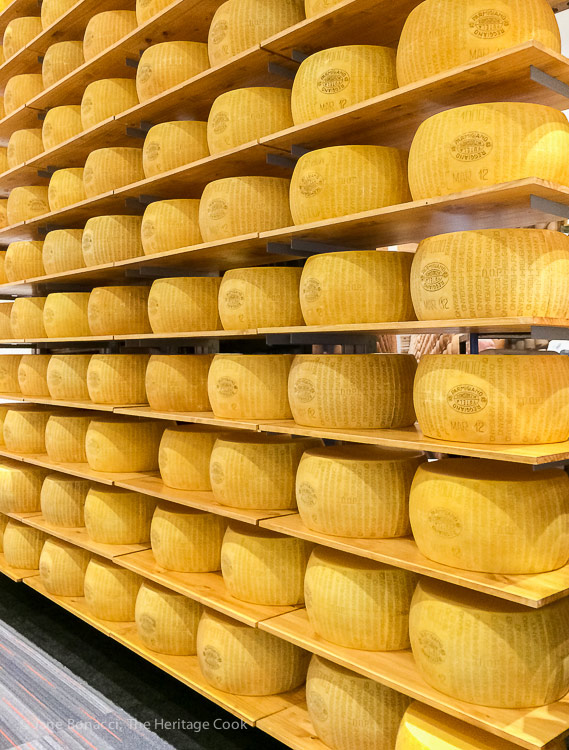 Wall of cheese wheels; Walking the San Francisco Winter Fancy Food Show 2018 © 2018 Jane Bonacci, The Heritage Cook