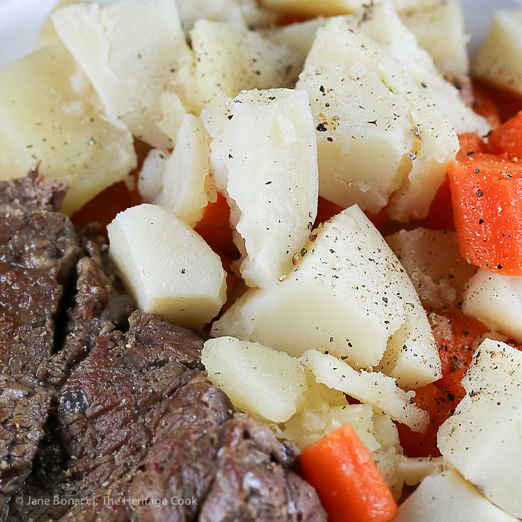 Close up of the potatoes and carrots with pot roast; Instant Pot Chuck Roast with Potatoes and Carrots (Gluten-Free) © 2018 Jane Bonacci, The Heritage Cook; www.theheritagecook.com