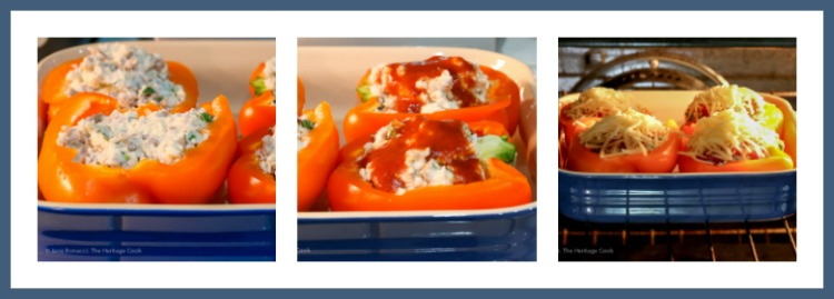 Steps to stuffing and baking the peppers; Lasagna Stuffed Peppers from The Everyday Ketogenic Kitchen cookbook © 2018 Jane Bonacci, The Heritage Cook