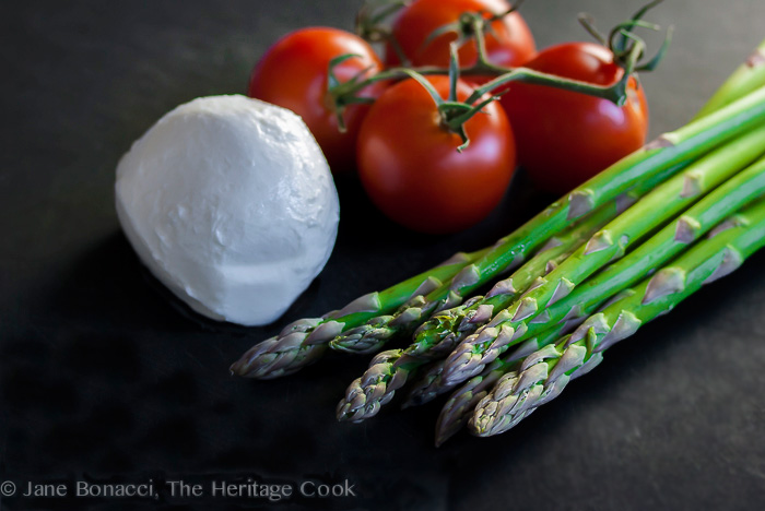 Ingredients for Asparagus Salad with Lemon Vinaigrette © 2018 Jane Bonacci, The Heritage Cook