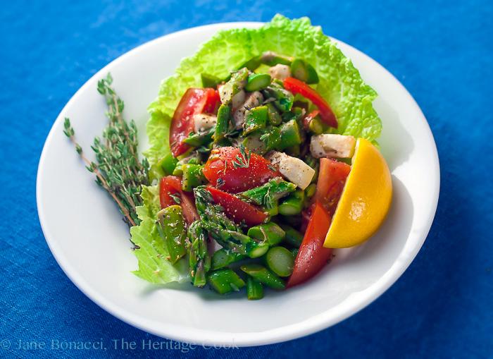 top down look at Asparagus Salad with Lemon Vinaigrette © 2018 Jane Bonacci, The Heritage Cook