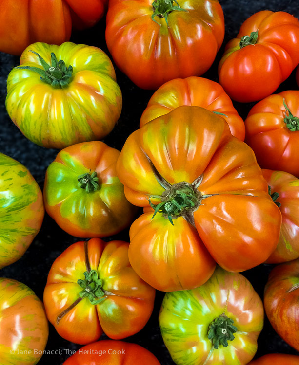 Gorgeous heirloom tomatoes; Authentic Italian Pasta Sauce recipe; Jane Bonacci, The Heritage Cook