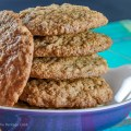 Close up of stack of cookies; Oatmeal Chocolate Chip Pecan Cookies © 2018 Jane Bonacci, The Heritage Cook