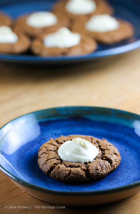 Ginger Thumbprint Cookies with White Chocolate Topping © 2018 Jane Bonacci, The Heritage Cook