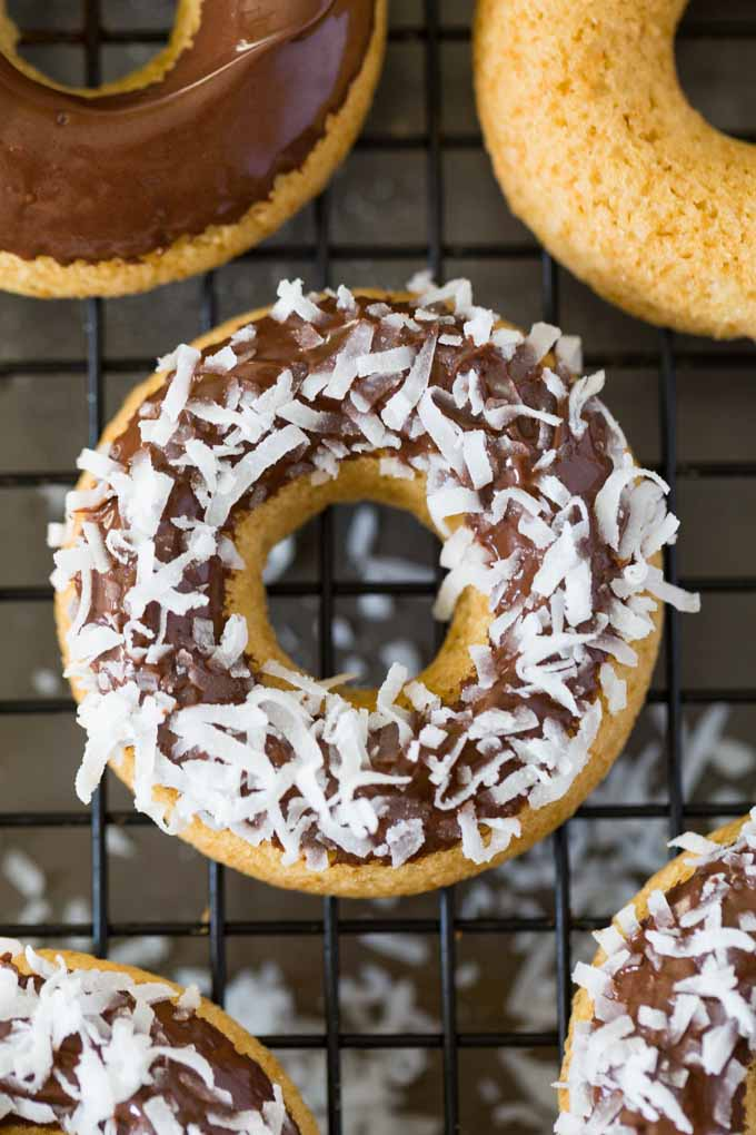 Chocolate Dipped Gluten Free Doughnuts; 7 Great Chocolate Desserts for Mother's Day 2018 assembled by Jane Bonacci, The Heritage Cook