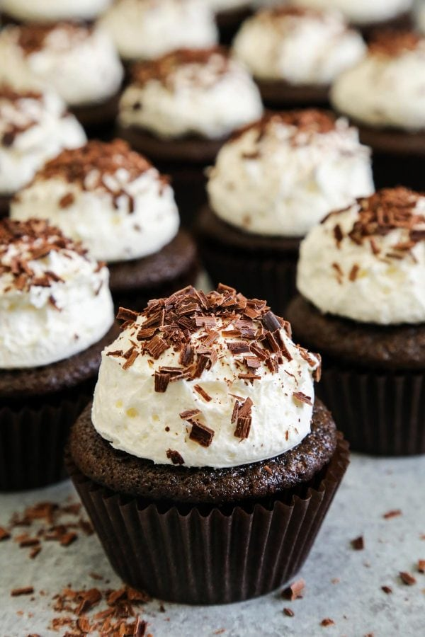 Chocolate Cupcakes with Marshmallow Frosting; 7 Great Chocolate Desserts for Mother's Day 2018 assembled by Jane Bonacci, The Heritage Cook