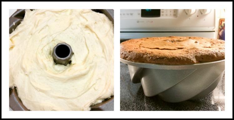 Very full bundt pan and freshly baked cake; Sculptured Lemon Buttermilk Pound Cake © 2018 Jane Bonacci, The Heritage Cook