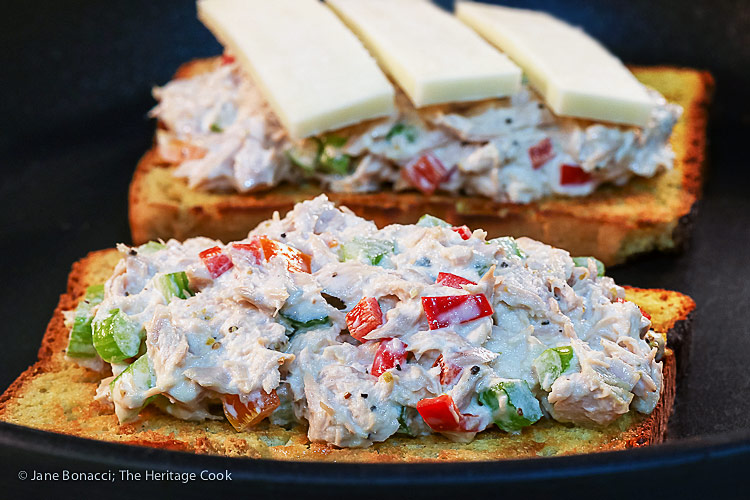 frying the open-faced California Tuna Melts (Gluten Free); grilled tuna salad sandwiches with cheese and avocado © 2018 Jane Bonacci, The Heritage Cook