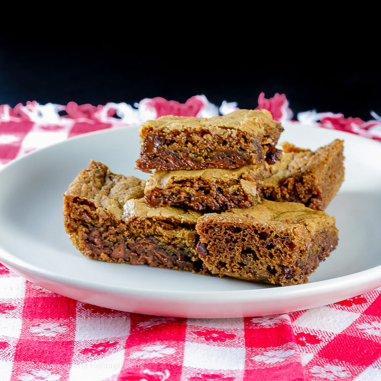 Super Easy Chocolate Chip Blondies © 2018 Jane Bonacci, The Heritage Cook