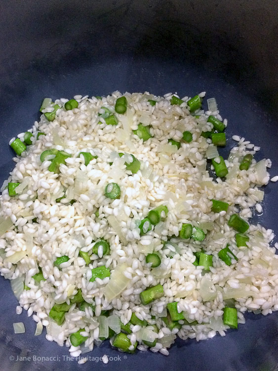 cooking the arborio rice in the instant pot; Asparagus and Pea Risotto © 2018 Jane Bonacci, The Heritage Cook