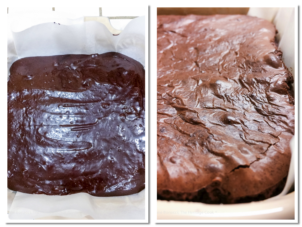 Brownies before and after baking; Brownies with Cheesecake Frosting (Gluten Free) © 2018 Jane Bonacci, The Heritage Cook