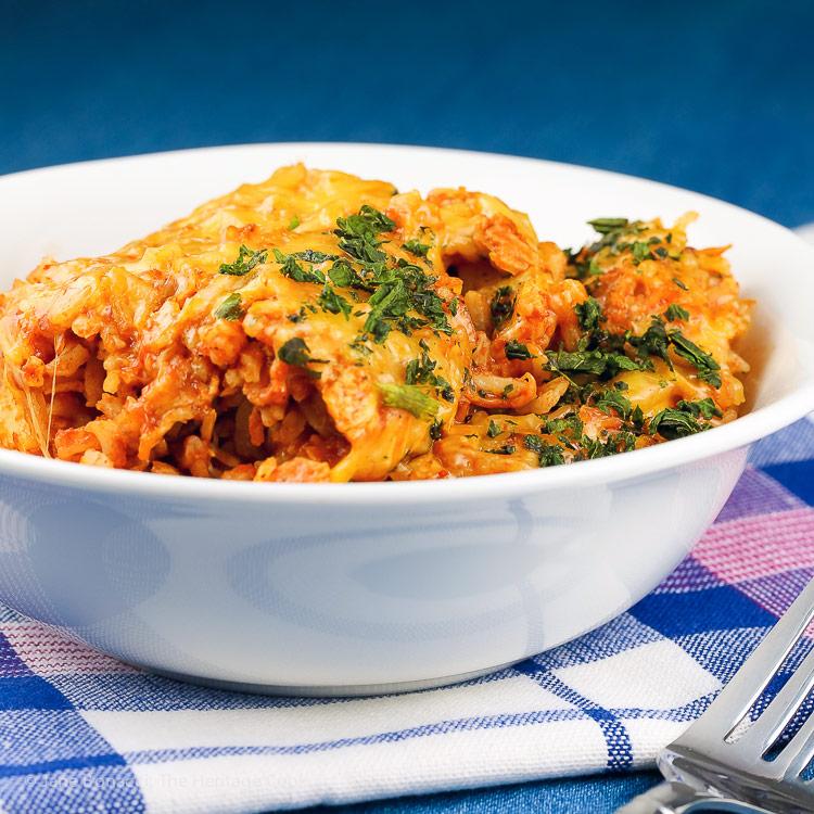 Close up of bowl; Instant Pot Chicken Enchilada Rice Casserole © 2018 Jane Bonacci, The Heritage Cook