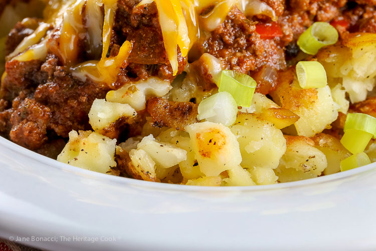 close up of the potatoes beneath the chili; Gluten Free Chili Hash © 2018 Jane Bonacci, The Heritage Cook