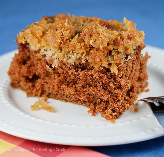 single slice on plate with blue background; Cockeyed German Chocolate Cake © 2018 Jane Bonacci, The Heritage Cook