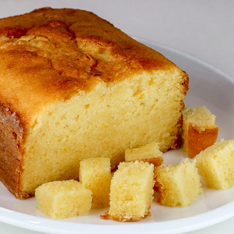 Orange pound cake cut into squares for the trifle; Orange Creamsicle Trifle; © 2018 Jane Bonacci, The Heritage Cook