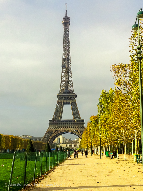 Eiffel Tower, Paris; French Cheeses event at Cafe Claude © 2018 Jane Bonacci, The Heritage Cook