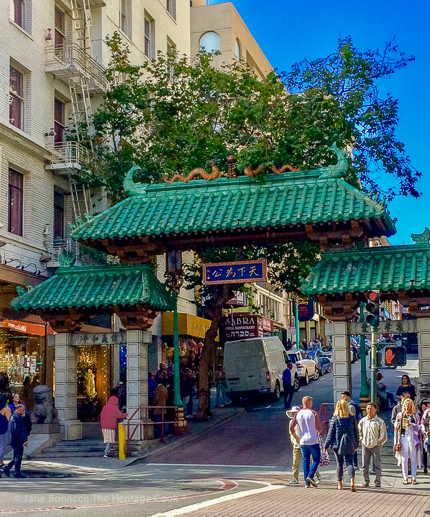A rare sunny summer day in San Francisco, the gate to Chinatown; French Cheeses event at Cafe Claude © 2018 Jane Bonacci, The Heritage Cook