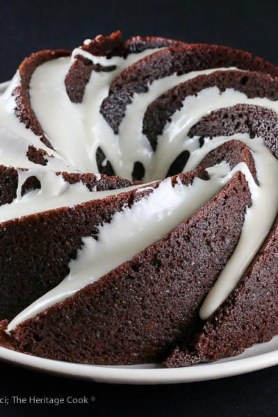 Deep Chocolate Zebra Cake (Gluten Free)